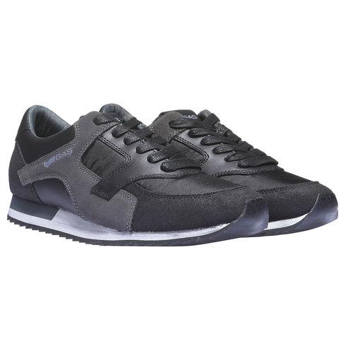 Sneakers di pelle da uomo gas, nero, 843-6507 - 26