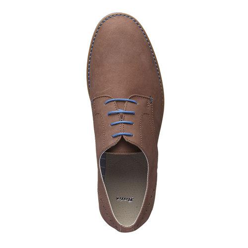 Scarpe basse di pelle con suola colorata bata, marrone, 826-4839 - 19