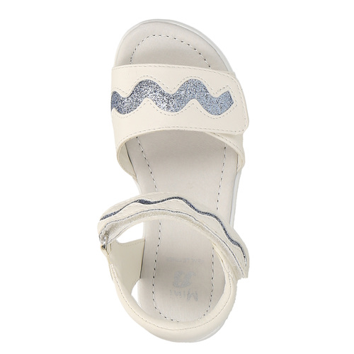Sandali da ragazza con glitter mini-b, bianco, 261-1159 - 19