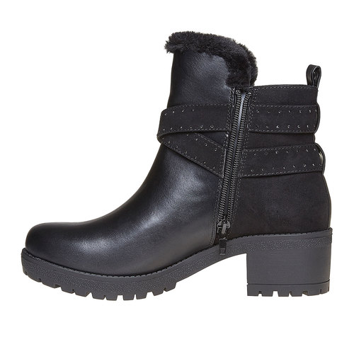 Scarpe da donna alla caviglia con suola appariscente bata, nero, 691-6160 - 19