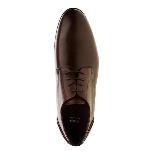 Scarpe basse di pelle in stile Derby bata, marrone, 824-4538 - 19