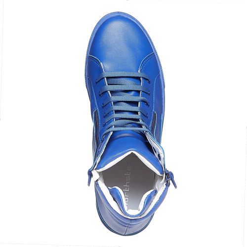 Sneakers da uomo in pelle con cerniere north-star, blu, 841-9503 - 19