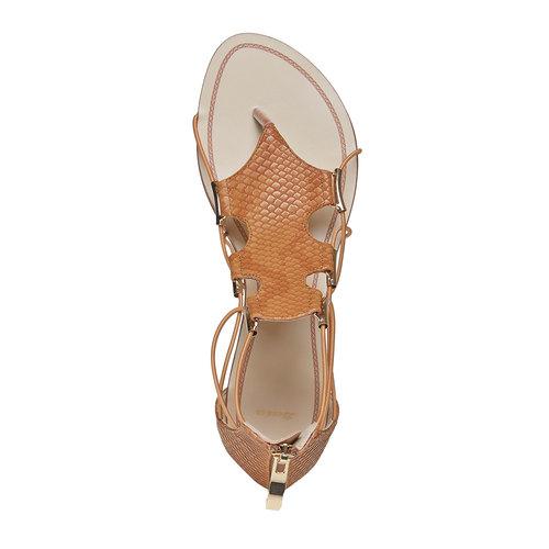Sandali da donna di pelle bata, marrone, 561-3307 - 19