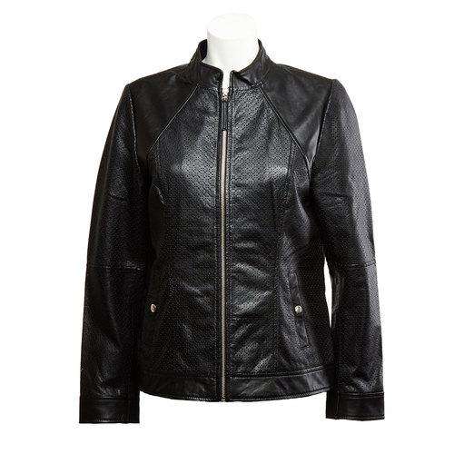Giacca da donna in pelle con perforazioni bata, nero, 974-6153 - 13