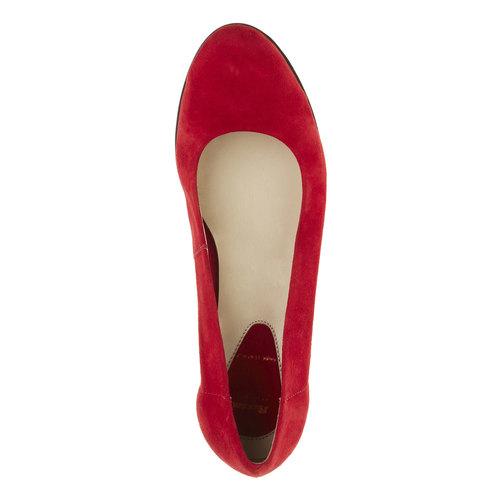 Décolleté di pelle con tacco a zeppa flexible, rosso, 623-5395 - 19
