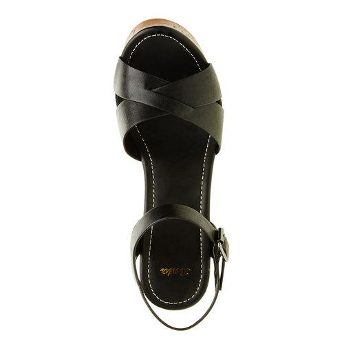 Sandali con tacco massiccio bata, nero, 761-6500 - 19