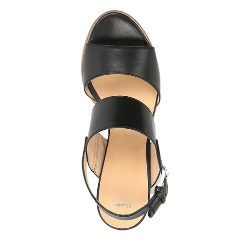 Sandali di pelle con tacco ampio bata, nero, 664-6205 - 19