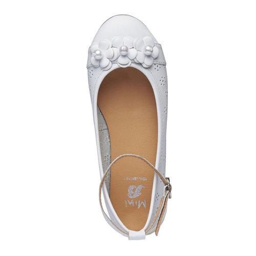 Ballerine da ragazza in pelle con perline mini-b, bianco, 324-1170 - 19