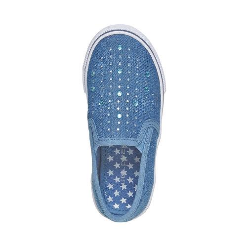 Slip-on da ragazza con strass mini-b, blu, 229-9148 - 19