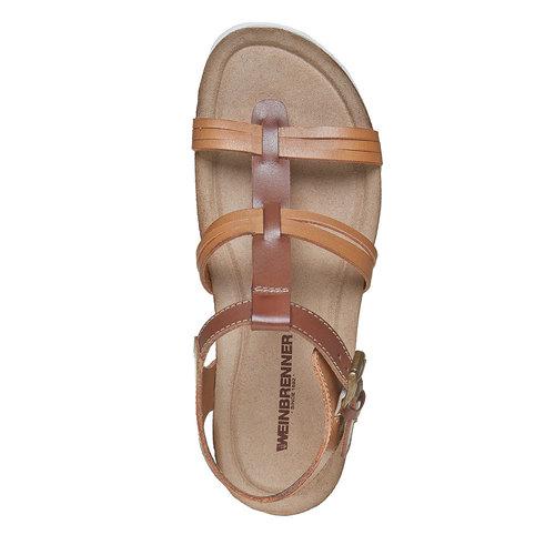 Sandali da donna in pelle weinbrenner, marrone, 564-3315 - 19