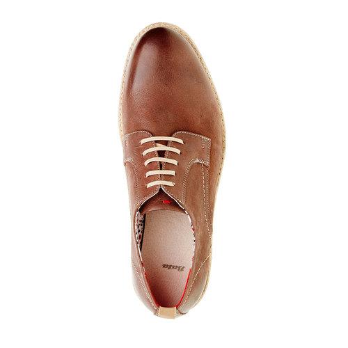 Scarpe basse di pelle con suola appariscente bata, marrone, 824-4694 - 19