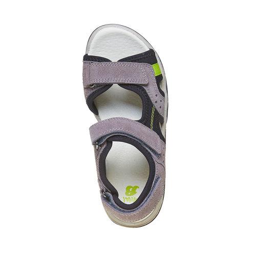 Sandali sportivi da bambino con tomaia di pelle mini-b, grigio, 463-2107 - 19