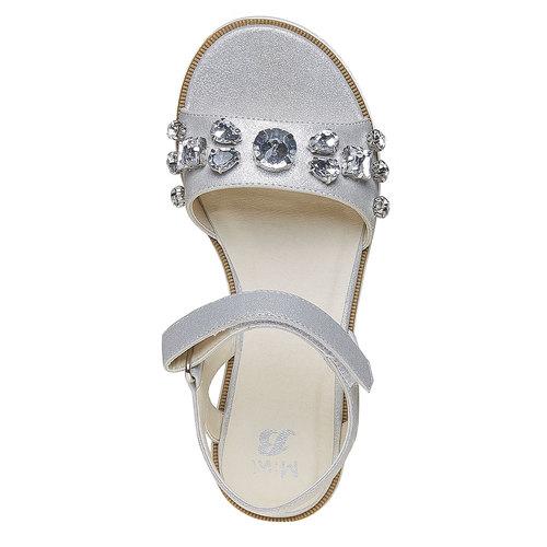 Sandali con flatform con pietre mini-b, bianco, 361-1174 - 19