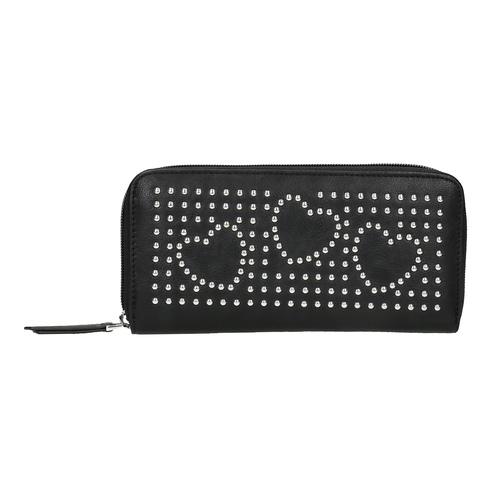 Portafoglio da donna con applicazioni in metallo bata, nero, 941-6134 - 19
