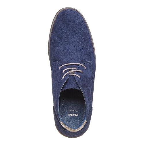 Chukka in pelle da uomo bata, blu, 843-9380 - 19