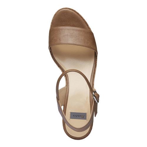 Sandali da donna con plateau bata, marrone, 761-4523 - 19