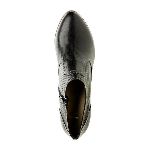 Scarpe basse di pelle con tacco bata, nero, 724-6932 - 19