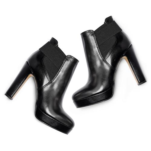 Stivaletti di pelle alla caviglia con plateau bata, nero, 794-6571 - 19