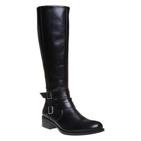 Stivali da donna di pelle con cinturini intorno alla caviglia bata, nero, 594-6585 - 13