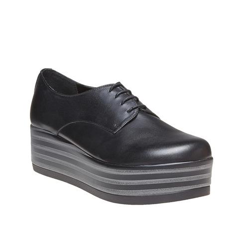 Scarpe basse di pelle con flatform bata, nero, 524-6409 - 13