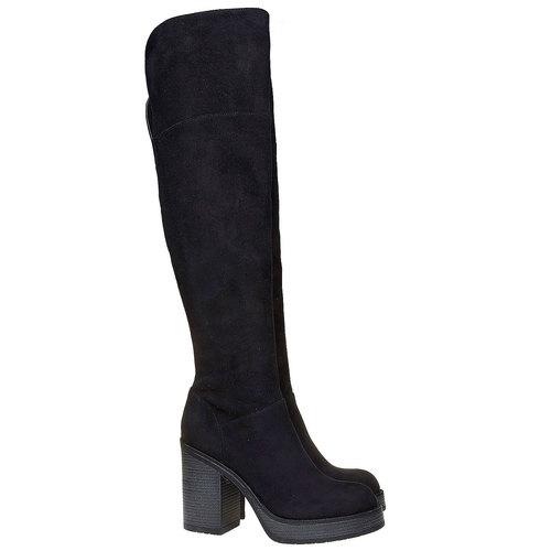 Stivali da donna con tacco stabile bata, nero, 799-6295 - 26
