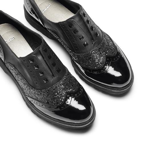 Oxford da donna con glitter bata, nero, 511-6240 - 26
