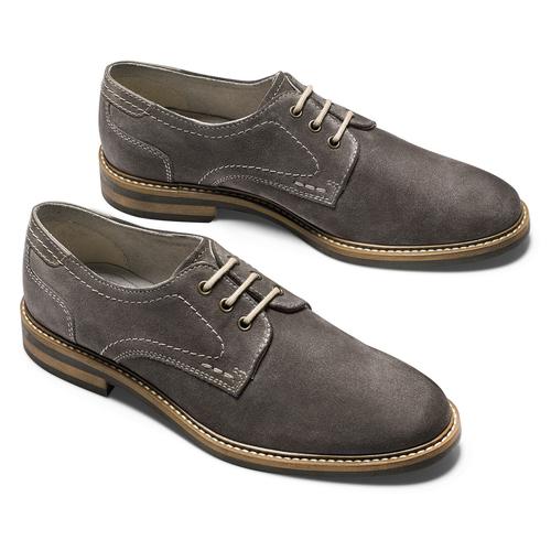 Scarpe basse casual di pelle bata, grigio, 823-2608 - 19