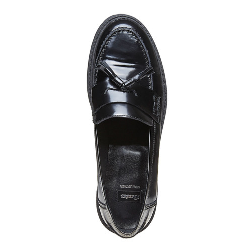 Tassel Loafer in pelle con suola appariscente bata, nero, 514-6199 - 19