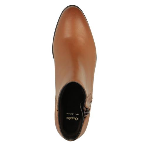 Scarpe di pelle alla caviglia con cerniera bata, marrone, 594-3518 - 19