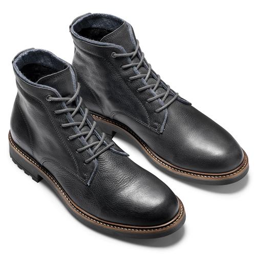 Scarpe in pelle sopra la caviglia con suola appariscente bata, nero, 894-6522 - 19