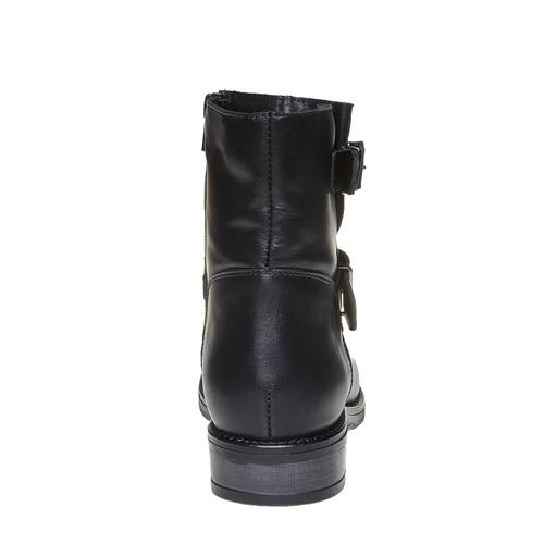 Stivaletti alla caviglia in pelle con fibbie bata, nero, 594-6112 - 17