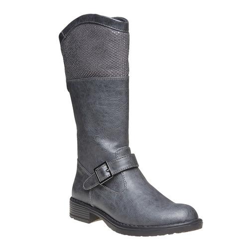 Stivali grigi da ragazza con strass mini-b, grigio, 391-2305 - 13