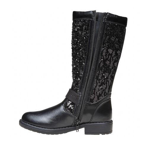Stivali da ragazza con glitter mini-b, nero, 291-6165 - 19