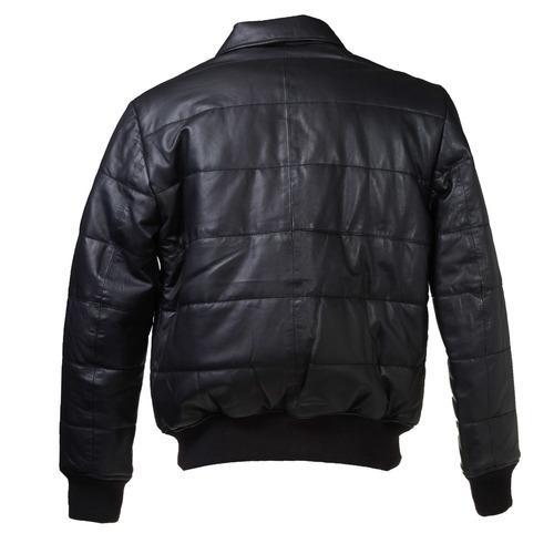 Giacca di pelle con cuciture bata, nero, 974-6165 - 26