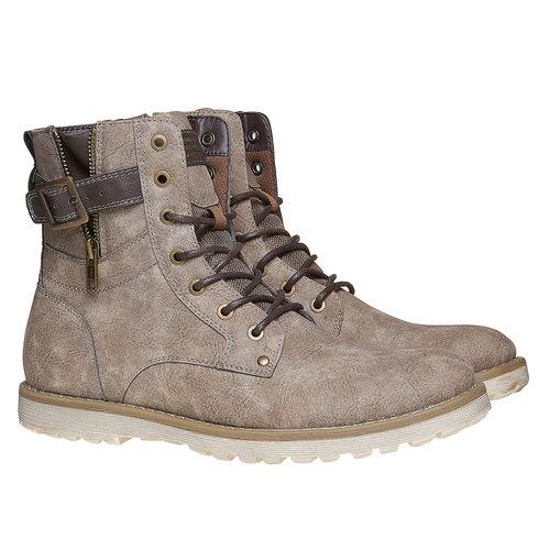 Scarpe da uomo alla caviglia bata, grigio, 891-2237 - 26