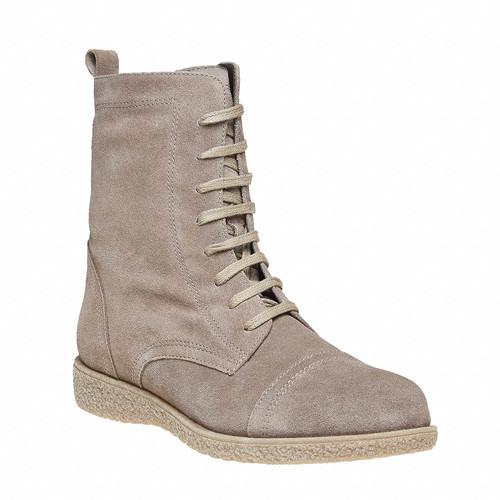 Scarpe in pelle da donna con lacci bata, grigio, 593-2107 - 13