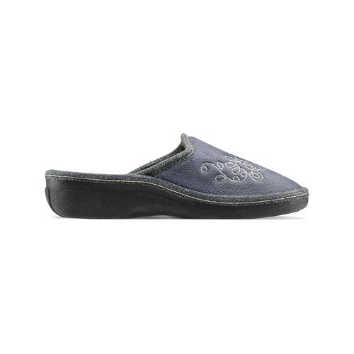 Pantofole con ricamo bata, grigio, 579-2280 - 26