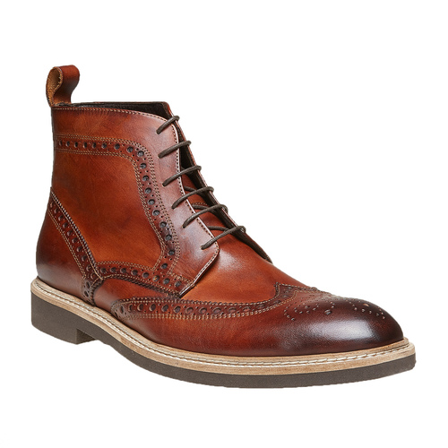 Scarpe in pelle sopra la caviglia con decorazione Brogue bata-the-shoemaker, marrone, 824-3183 - 13