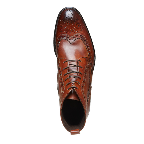 Scarpe in pelle sopra la caviglia con decorazione Brogue bata-the-shoemaker, marrone, 824-3179 - 19