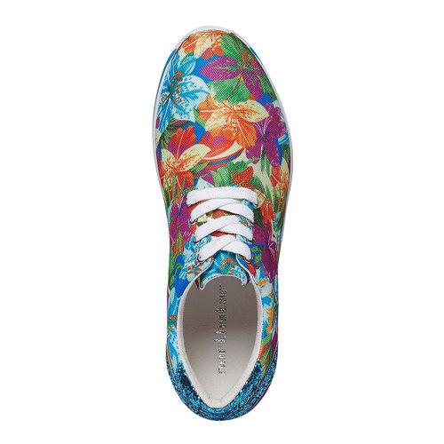 Sneakers da donna con motivo floreale north-star, viola, 549-9230 - 19