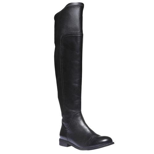 Stivali di pelle sopra il ginocchio bata, nero, 594-6226 - 13