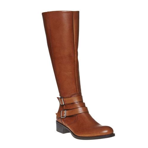Stivali di pelle con fibbie bata, marrone, 594-3585 - 13