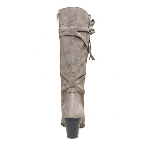Stivali in pelle da donna con fibbie flexible, grigio, 693-2358 - 17