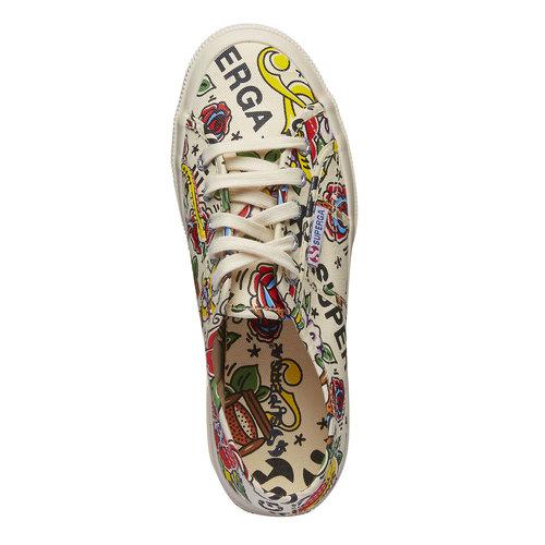 Sneakers con stampa colorata superga, bianco, 589-1219 - 19