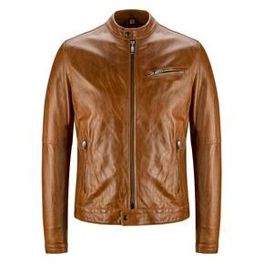 Giacca in pelle con cuciture eleganti bata, marrone, 974-3142 - 13