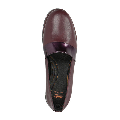 Slip-on da donna in pelle color bordeaux flexible, rosso, 514-5252 - 19
