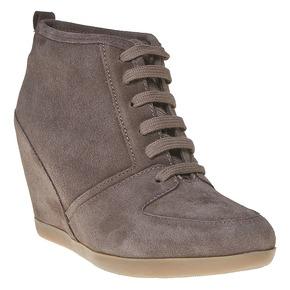 Scarpe in pelle con tacco a zeppa bata, grigio, 723-2828 - 13