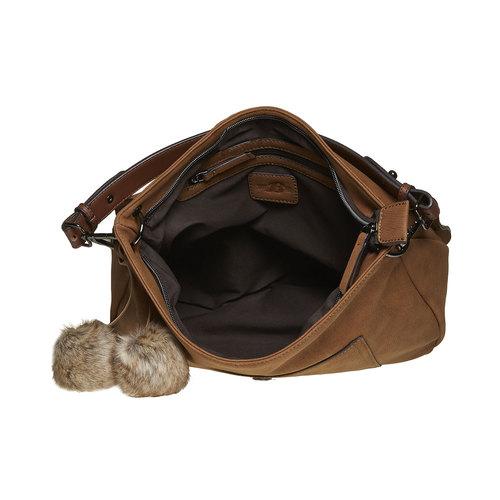 Borsetta da donna con pompon bata, marrone, 961-3244 - 15