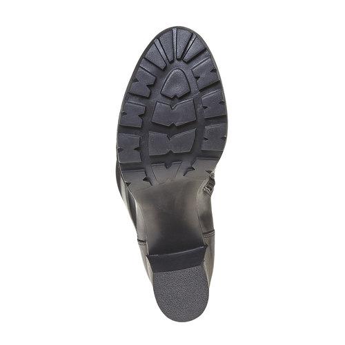 Stivali di pelle con tacco massiccio bata, nero, 794-6580 - 26