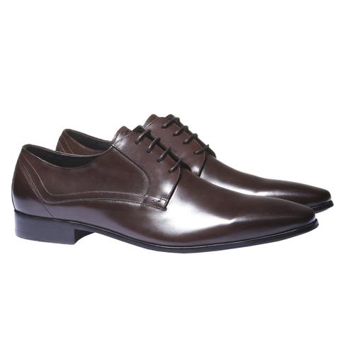 Scarpe basse di pelle in stile Derby bata, marrone, 824-4548 - 26